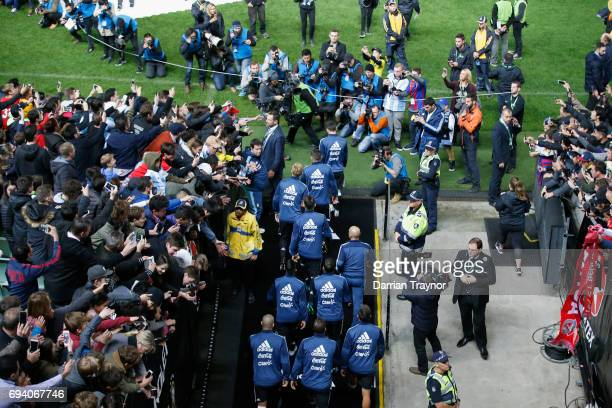 Argentia walk out to warm up before the Brasil Global Tour match between Brazil and Argentina at Melbourne Cricket Ground on June 9 2017 in Melbourne...