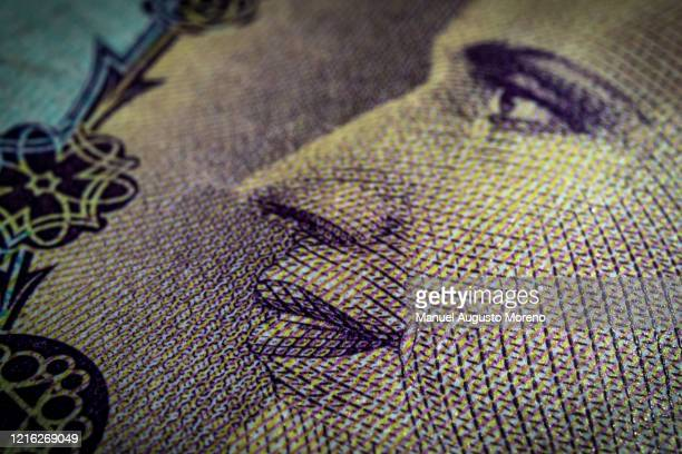 argentina 100 pesos banknote eva perón face close-up - buenos aires stock pictures, royalty-free photos & images