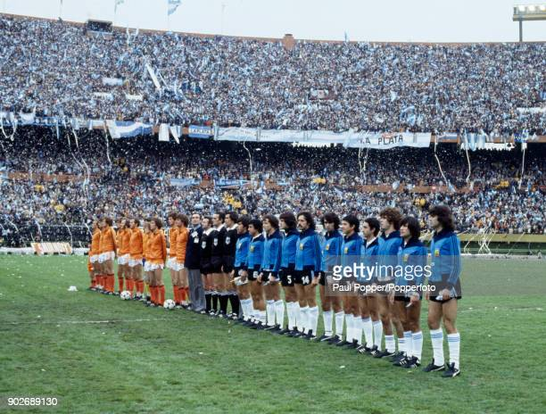 Argentina and Holland line up for the National Anthems prior to the FIFA World Cup Final at the Estadio Monumental in Buenos Aires 25th June 1978...