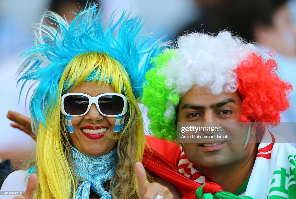 Argentina and Iran fans during the 2014 FIFA World Cup Brazil Group F match between Argentina and Iran at Estadio Mineirao on June 21, 2014 in Belo Horizonte, Brazil.