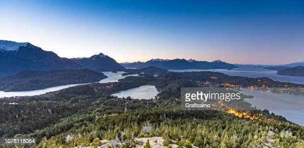 argentina bariloche rio negro patagonia lake nahuel huapi sunset - bariloche stock pictures, royalty-free photos & images