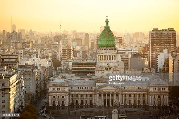 argentina buenos aires aerial view of palacio del congreso - buenos aires stock pictures, royalty-free photos & images
