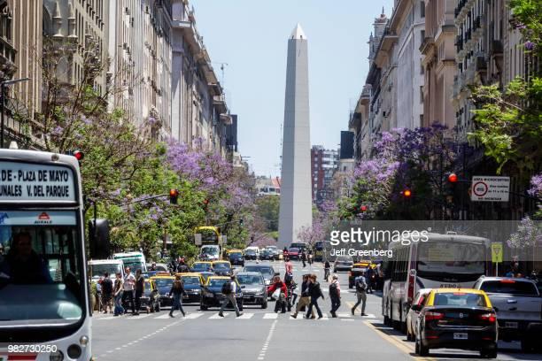 Argentina Buenos Aires Avenida Roque Saenz Pena Obelisk and busy streets