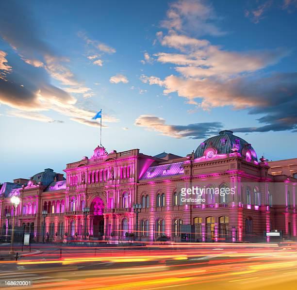 アルゼンチンブエノスアイレス Casa Rosada の夜景