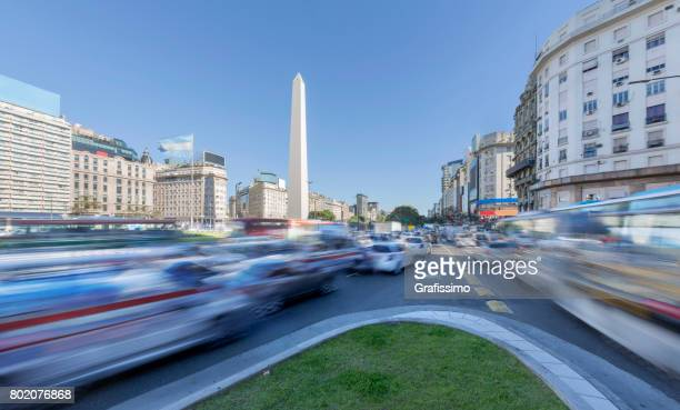 Argentina Buenos Aires center with obelisco at rush hour