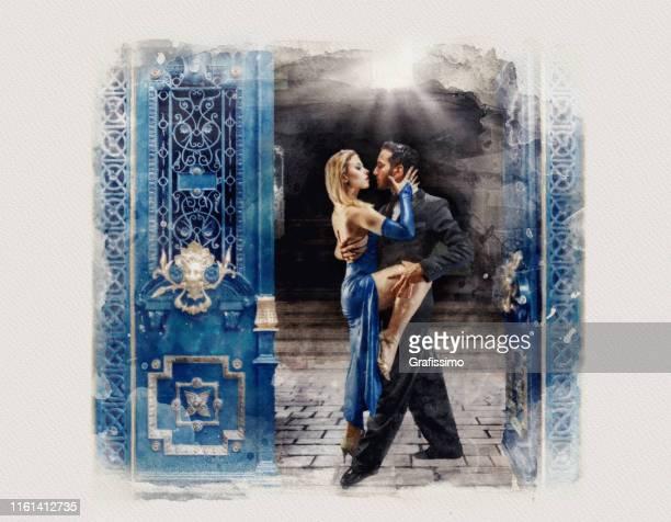 argentine buenos aires couples dansant la peinture d'aquarelle de tango - danse latine photos et images de collection