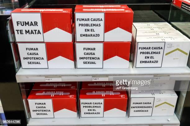 Argentina Buenos Aires Ministro Pistarini International Airport Ezeiza cigarette cartons warning label