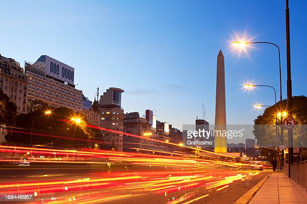 Argentina Buenos Aires obelisco with traffic at night