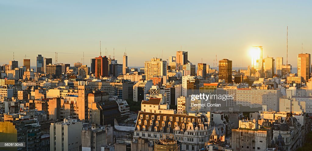 Argentina, Buenos Aires, Panoramic view of cityscape at dusk : Stock Photo