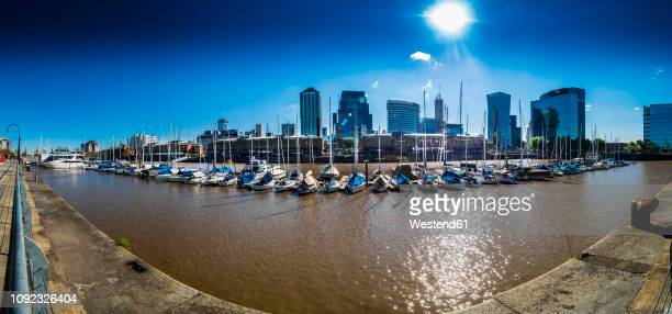 argentina, buenos aires, puerto madero, dock sud with catalinas towers, financial district, retiro, wide angle view, panorama - puerto madero fotografías e imágenes de stock