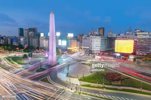 Argentina Buenos Aires rush hour center with obelisco at night