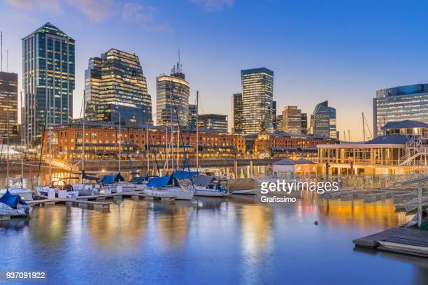 argentina buenos aires skyline puerto madero at night - puente de la mujer stock pictures, royalty-free photos & images