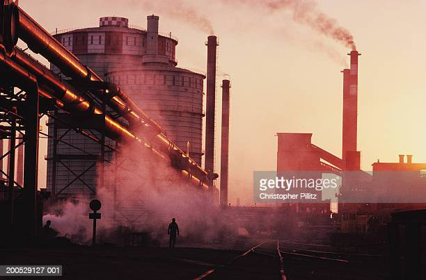 Argentina, Buenos Aires, smoking chimneys at steel plant