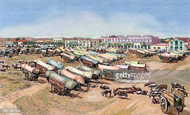 Argentina Buenos Aires Tumbrils in the marketplace of Lanas Hildibrand engraving in 'La Ilustracion' Colored engraving
