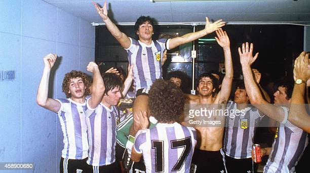 Argentina captain Diego Maradona celebrates on the shoulders of team mates after they had beaten Russia 3-1 to win the 1979 FIFA World Youth...