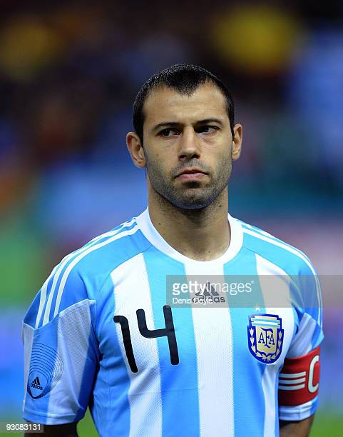 Argentina captain Javier Mascherano linesup before the International friendly match between Argentina and Spain at the Vicente Calderon stadium on...