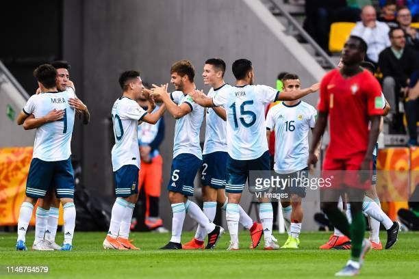 Argentina celebrate the goal of Adolfo Gaich of Argentina U20 during the FIFA U20 World Cup Poland 2019 group F match between Portugal U20 and...