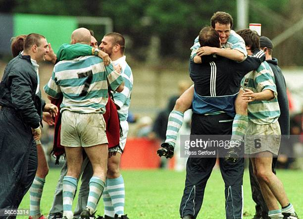Argentina celebrate their win over Manu Samoa in the pool match of the Rugby World Cup at Stradey Park, Llanelli, Sunday. Argentina won 3216.