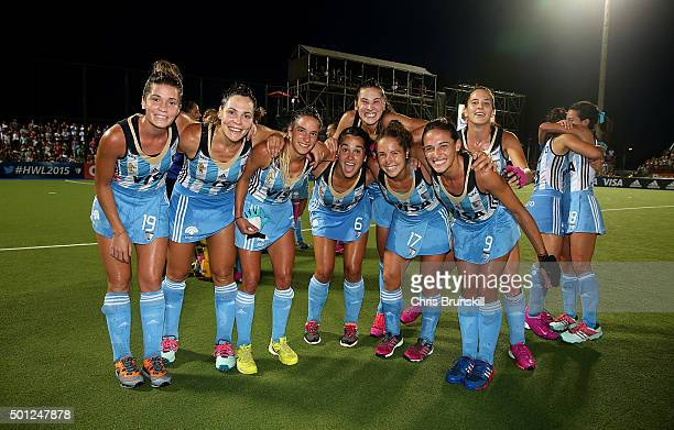 Argentina celebrate victory at the end of the final match between Argentina and New Zealand on day 9 of the Hockey World League Final on December 13...