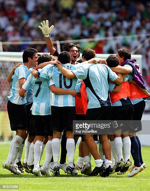 Argentina celebrate winning the Men's Gold Medal football match between Nigeria and Argentina at the Men's Final between Nigeria and Argentina at the...