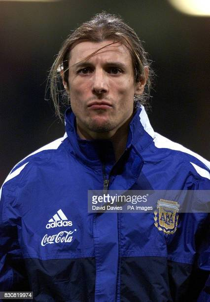 Argentina Claudio Caniggia in the line up just before the friendly international game against Wales at the Millennium Stadium Cardiff