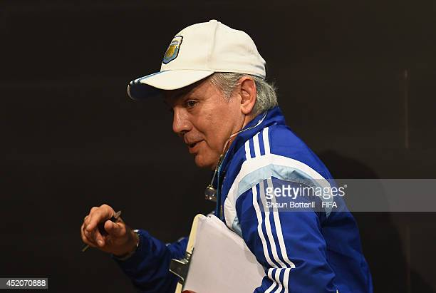 Argentina coach Alejandro Sabella leaves a press conference at Maracana on July 12 2014 in Rio de Janeiro Brazil