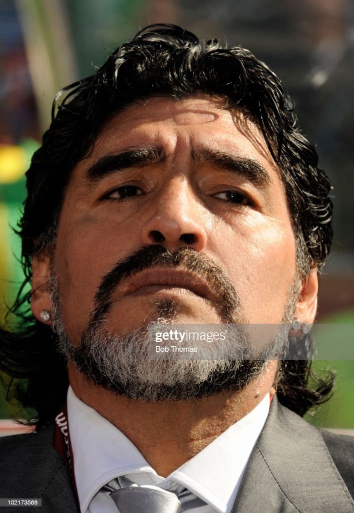 Argentina coach Diego Maradona looks on during the 2010 FIFA World Cup South Africa Group B match between Argentina and South Korea at Soccer City Stadium on June 17, 2010 in Johannesburg, South Africa. Argentina won the match 4-1.