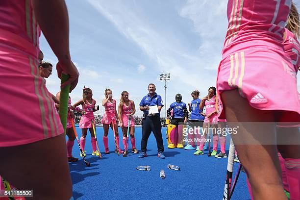 Argentina coach Gabriel Minadeo during the FIH Women's Hockey Champions Trophy match between USA and Argentina at Queen Elizabeth Olympic Park on...