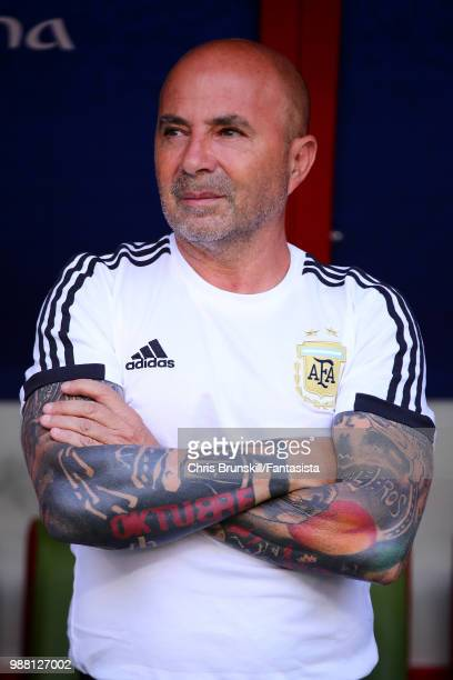 Argentina coach Jorge Sampaoli looks on during the 2018 FIFA World Cup Russia Round of 16 match between France and Argentina at Kazan Arena on June...