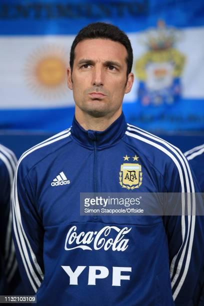 Argentina coach Lionel Scaloni looks on before the international friendly match between Argentina and Venezuela at Estadio Wanda Metropolitano on...