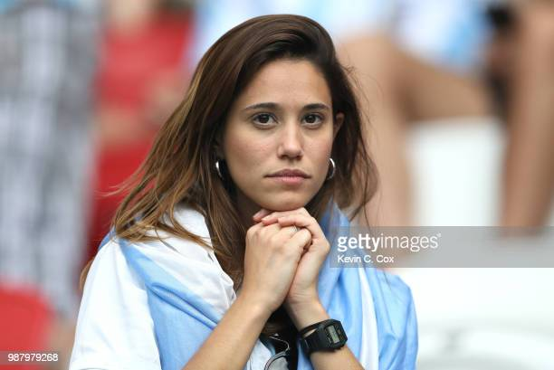 Argentina fan looks dejected following their loss during the 2018 FIFA World Cup Russia Round of 16 match between France and Argentina at Kazan Arena...