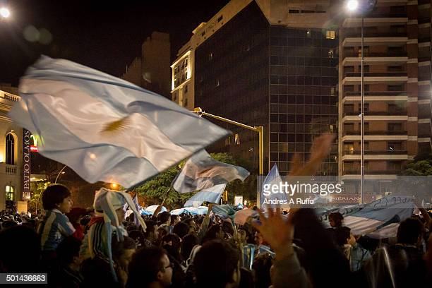 Argentina fans celebrate a win at the City Center in the streets Illia and Velez Sarsfield the June 15 2014 in Cordoba Argentina