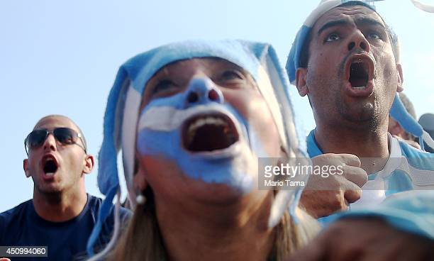 Argentina fans celebrate after Argentina scores against Iran during the FIFA Fan Fest on June 21 2014 in Rio de Janeiro Brazil Argentina defeated...