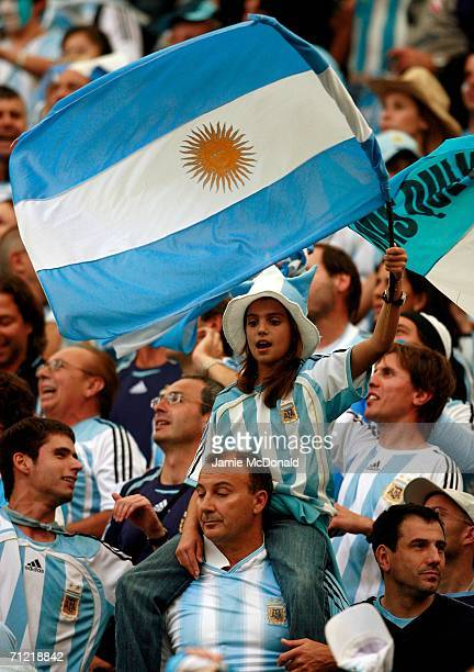 Argentina fans celebrate after the FIFA World Cup Germany 2006 Group C match between Argentina and Serbia Montenegro at the Stadium Gelsenkirchen on...