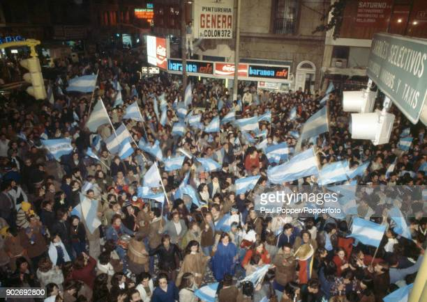 Argentina fans celebrate in the streets following the FIFA World Cup Final between Argentina and Holland at the Estadio Monumental in Buenos Aires...