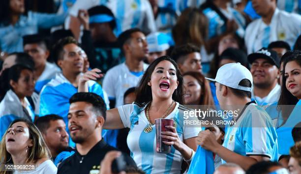 Argentina fans celebrate victory over of Guatemala during the international friendly match between Argentina and Guatemala at the Los Angeles...