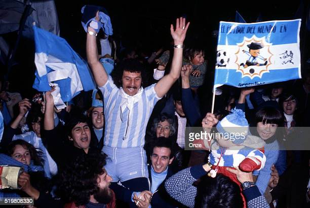 Argentina fans celebrates in the street after Argentina beat the Netherlands in the FIFA World Cup Final in Buenos Aires Argentina on 25th June 1978