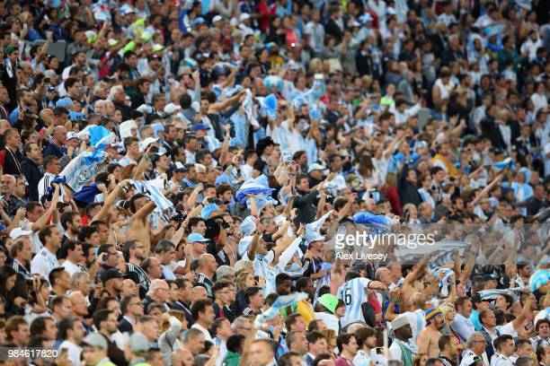 Argentina fans celebrates victory Following the 2018 FIFA World Cup Russia group D match between Nigeria and Argentina at Saint Petersburg Stadium on...