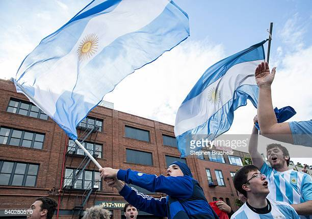 Argentina fans cheer outside the stadium before a group D match between Argentina and Bolivia at CenturyLink Field as part of Copa America Centenario...