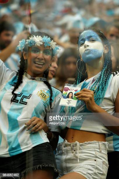 Argentina fans during the 2018 FIFA World Cup Russia group D match between Nigeria and Argentina at Saint Petersburg Stadium on June 26 2018 in Saint...