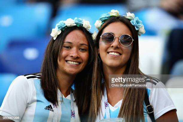 Argentina fans enjoy the atmosphere in the ground before the 2018 FIFA World Cup Russia group D match between Argentina and Croatia at Nizhny...