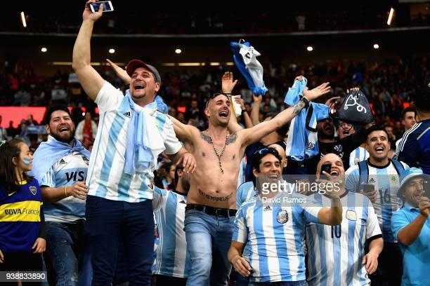 Argentina fans enjoy the pre match atmosphere before the International Friendly between Spain and Argentina on March 27 2018 in Madrid Spain