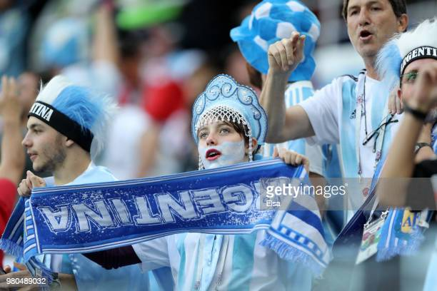 Argentina fans enjoy the pre match atmosphere prior to the 2018 FIFA World Cup Russia group D match between Argentina and Croatia at Nizhny Novgorod...
