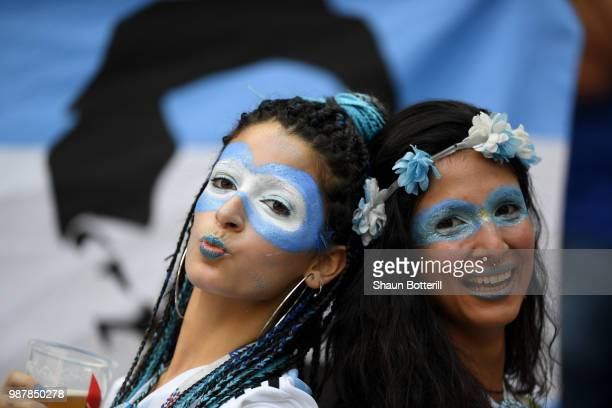 Argentina fans enjoy the pre match atmosphere prior to the 2018 FIFA World Cup Russia Round of 16 match between France and Argentina at Kazan Arena...