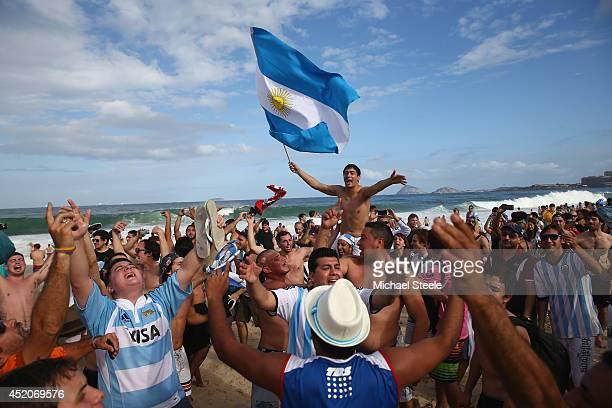 Argentina fans gather on Copacabana Beach ahead of the 2014 FIFA World Cup Brazil Final match on July 12 2014 in Rio de Janeiro Brazil