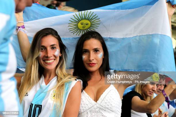Argentina fans in the stands before the FIFA World Cup Group D match at Saint Petersburg Stadium