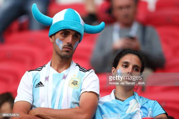 Argentina fans look dejected at the end of the 2018 FIFA World Cup Russia Round of 16 match between France and Argentina at Kazan Arena on June 30...