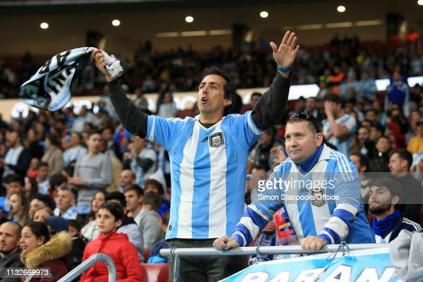 Argentina fans look on during the international friendly match between Argentina and Venezuela at Estadio Wanda Metropolitano on March 22 2019 in...