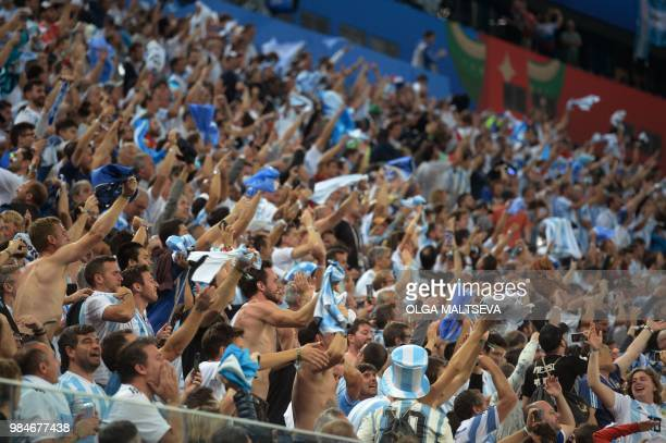 Argentina fans react during the Russia 2018 World Cup Group D football match between Nigeria and Argentina at the Saint Petersburg Stadium in Saint...