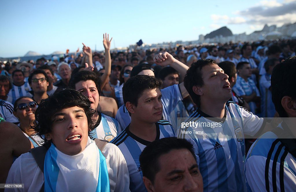 Argentina fans react in the first half on Copacabana Beach during the 2014 FIFA World Cup final match pitting Argentina against Germany on July 13, 2014 in Rio de Janeiro, Brazil. Germany won the match 1-0 in extra time at the famed Maracana stadium.